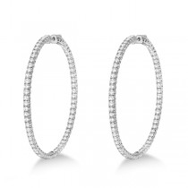 X-Large Round Diamond Hoop Earrings 14k White Gold (5.15ct)|escape