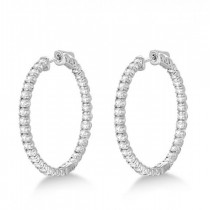 Large Round Diamond Hoop Earrings 14k White Gold (3.25ct)