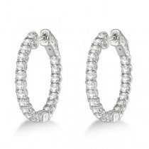 Medium Round Diamond Hoop Earrings 14k White Gold (2.00ct)