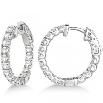 Unique Small Round Diamond Hoop Earrings 14k White Gold (1.51ct)