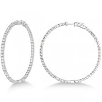 Stylish Large Round Diamond Hoop Earrings 14k White Gold (7.75ct)