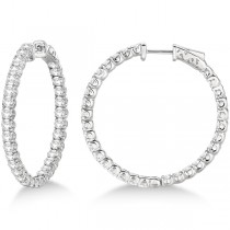 Medium Fancy Round Diamond Hoop Earrings 14k White Gold (4.50ct)