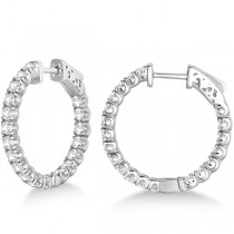Small Fancy Round Diamond Hoop Earrings 14k White Gold (2.75ct)