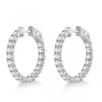 Small Fancy Round Diamond Hoop Earrings 14k White Gold (2.75ct)|escape