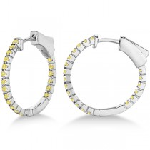 Thin Yellow Canary Diamond Hoop Earrings 14K White Gold (0.50ct)