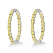 Fancy Yellow Canary Diamond Hoop Earrings 14k White Gold (10.00ct)