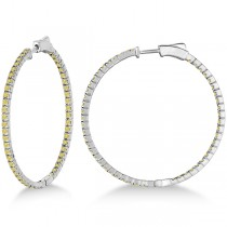 Large Yellow Canary Diamond Hoop Earrings 14k White Gold (2.00ct)