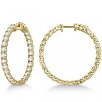 Fancy Medium Round Diamond Hoop Earrings 14k Yellow Gold (5.25ct)