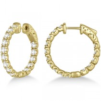 Small Round Diamond Hoop Earrings 14k Yellow Gold (3.00ct)