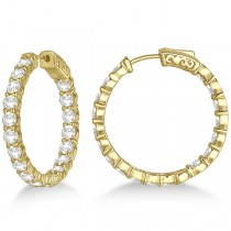 Prong-Set Medium Diamond Hoop Earrings 14k Yellow Gold (5.54ct)