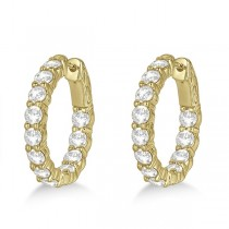Prong-Set Small Diamond Hoop Earrings 14k Yellow Gold (3.70ct)