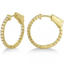 Unique Thin Small Diamond Hoop Earrings 14k Yellow Gold (0.50 ct)