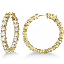 Fancy Medium Round Diamond Hoop Earrings 14k Yellow Gold (7.20ct)