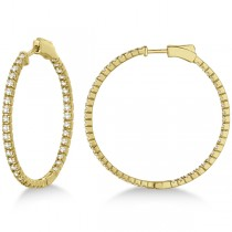 Stylish Large Round Diamond Hoop Earrings 14k Yellow Gold (2.00ct)