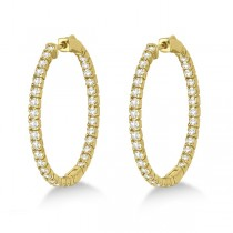 Large Round Diamond Hoop Earrings 14k Yellow Gold (2.05ct)