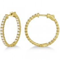 Medium Round Diamond Hoop Earrings 14k Yellow Gold (1.55ct)