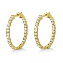 Medium Round Diamond Hoop Earrings 14k Yellow Gold (1.55ct)|escape