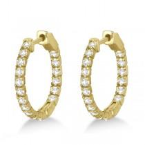 Fancy Small Round Diamond Hoop Earrings 14k Yellow Gold (1.00ct)