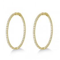 Stylish Large Round Diamond Hoop Earrings 14k Yellow Gold (7.75ct)