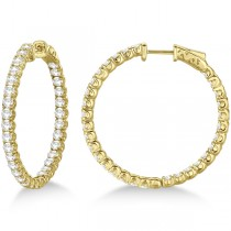 Medium Fancy Round Diamond Hoop Earrings 14k Yellow Gold (4.50ct)