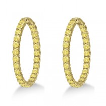 Fancy Yellow Canary Diamond Hoop Earrings 14k Yellow Gold (10.00ct)|escape