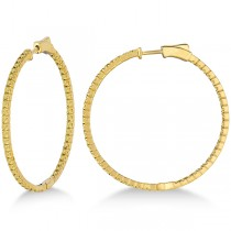 Large Yellow Canary Diamond Hoop Earrings 14k Yellow Gold (2.00ct)