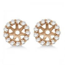 Round Diamond Earring Jackets for 8mm Studs 14K Rose Gold (0.64ct)