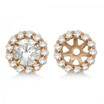 Round Diamond Earring Jackets for 9mm Studs 14K Rose Gold (0.75ct)