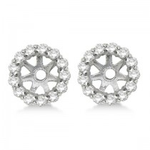 Round Diamond Earring Jackets for 4mm Studs 14K White Gold (0.35ct)