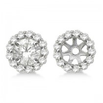Round Diamond Earring Jackets for 6mm Studs 14K White Gold (0.55w)