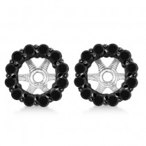 Round Cut Fancy Black Diamond Earring Jackets 14k White Gold (1.00ct)
