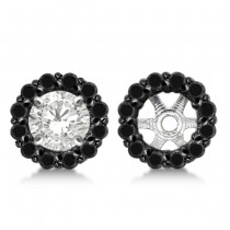 Round Cut Fancy Black Diamond Earring Jackets 14k White Gold (0.50ct)