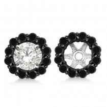 Round Cut Fancy Black Diamond Earring Jackets 14k White Gold (0.75ct)