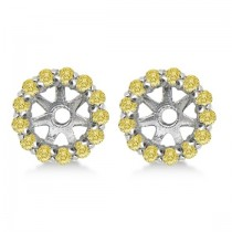 Round Yellow Diamond Earring Jackets for 5mm Studs 14K W. Gold (0.50ct)