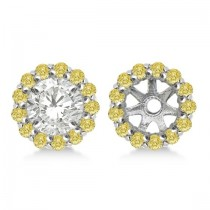 Round Yellow Diamond Earring Jackets for 9mm Studs 14K W. Gold  (0.75ct)