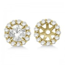 Round Diamond Earring Jackets for 9mm Studs 14K Yellow Gold (0.75ct)
