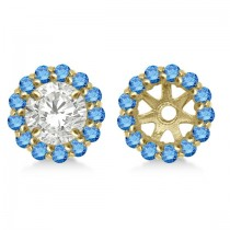 Round Blue Diamond Earring Jackets for 7mm Studs 14K Yellow Gold (0.58ct)