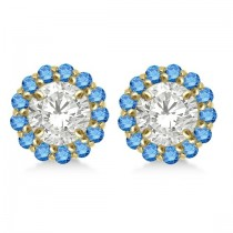 Round Blue Diamond Earring Jackets for 9mm Studs 14K Yellow Gold (0.75ct)