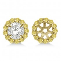 Round Yellow Diamond Earring Jackets for 8mm Studs 14K Y. Gold (0.64ct)