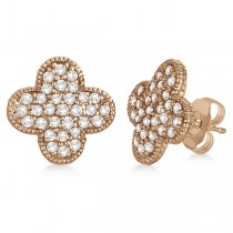 Four Leaf Clover Diamond Stud Earrings 14k Rose Gold (0.75ct)