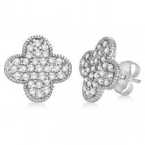 Four Leaf Clover Diamond Stud Earrings 14k White Gold (0.75ct)