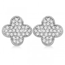 Four Leaf Clover Diamond Stud Earrings 14k White Gold (0.75ct)|escape