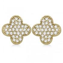 Four Leaf Clover Diamond Stud Earrings 14k Yellow Gold (0.75ct)
