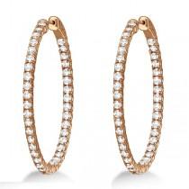 Fancy Large Oval-Shaped Diamond Hoop Earrings 14k Rose Gold (5.46ct)