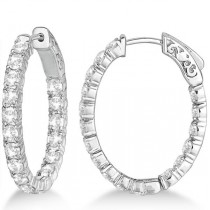 Oval-Shaped Diamond Hoop Earrings 14k White Gold (3.57ct)