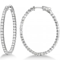 Fancy Large Oval-Shaped Diamond Hoop Earrings 14k White Gold (5.46ct)