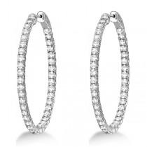 Fancy Large Oval-Shaped Diamond Hoop Earrings 14k White Gold (5.46ct)
