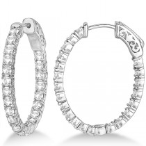 Small Oval-Shaped Diamond Hoop Earrings 14k White Gold (2.94ct)