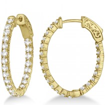 Fancy Small Oval-Shaped Diamond Hoop Earrings 14k Yellow Gold (2.16ct)