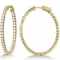 Fancy Large Oval-Shaped Diamond Hoop Earrings 14k Yellow Gold (5.46ct)